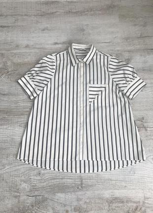 Крутая летняя полосатая рубашка с коротким рукавом zara