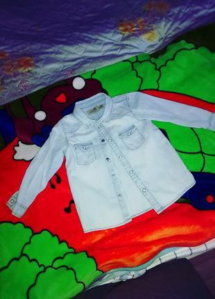 Джинсова рубашечка на хлопчика 12-24 місяці 86 см