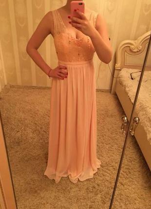 Пудровое платье в пол выпускное