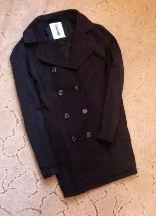 Тренч пиджак плащ пальто куртка ветровка черный короткий на пуговицах в два ряда  mexx