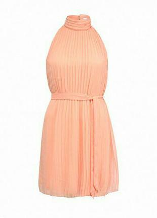 Плиссированное платье h&m персикового цвета