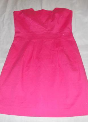 Выходное малиновое платье – баллон  с обнаженными плечами lindex