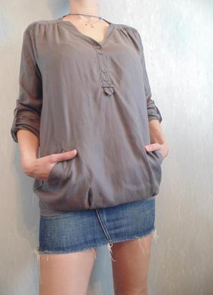 Блуза свободного кроя, подойдет и для беременных