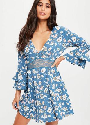 Платье с кружевом и воланами missguided