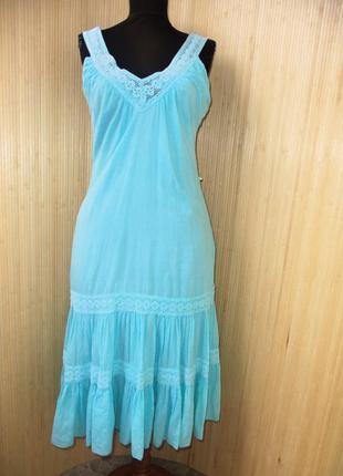 Небесное голубое фопнцкзское летнее платье сарафан тонкий хлопок