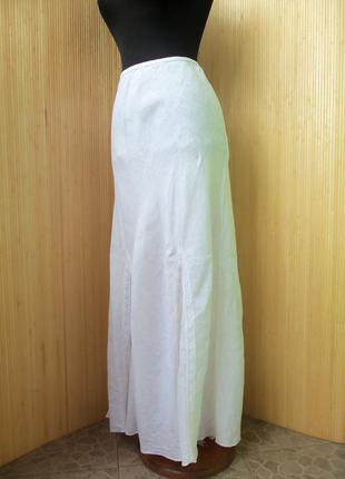 Льняная юбка макси с кружевом с поясом резинкой