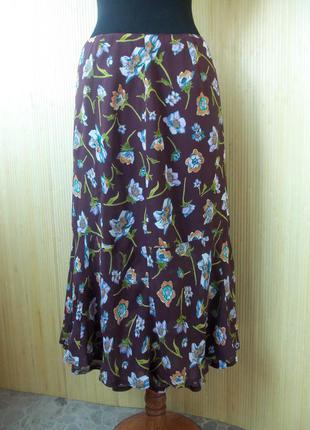 Летящая летняя юбка колокол ниже колена с цветочным принтом