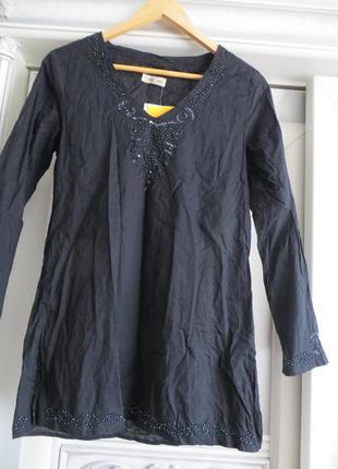 Коттоновая рубашка в стиле этно-casual с вышивкой из бисера
