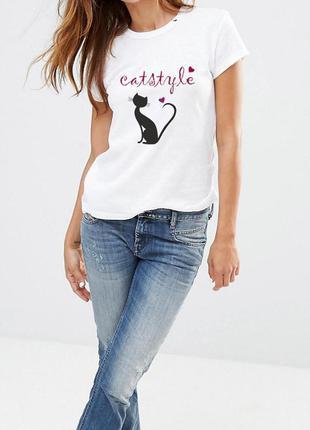 Белая футболка catstyle 100% коттон