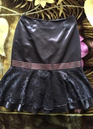 Нарядная атласная юбка на подкладке