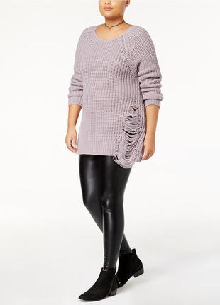 Актуальный, плотный свитер с дырками