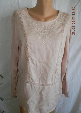 Натуральная блуза с вышивкой tu