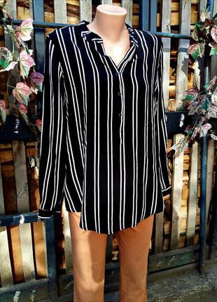 Фирменная рубашка блуза в полоску черная от chicoree