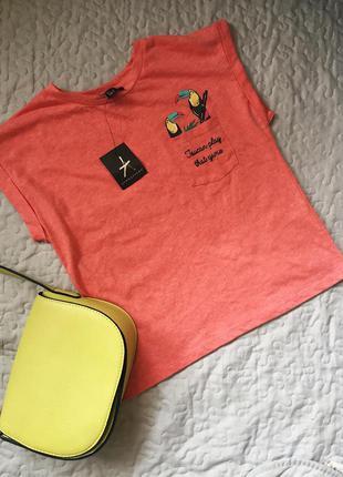 Трендовая футболка с принтом и надписью, новая с биркой