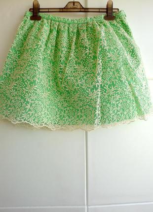 Мини-юбка с кружевом zara