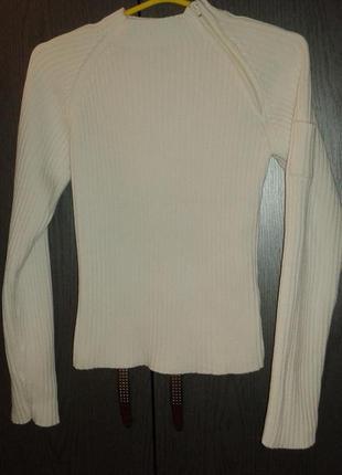 Теплая кофточка-гольф-реглан в рубчик белого цвета  tipster, размер 6/8.