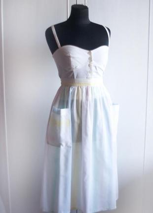 Ретро юбка миди в стиле 50-х в полоску, с карманами