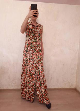 Платье -халат длинное цветочный принт