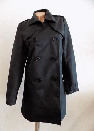 Куртка ветровка плащ черный фирменный pieces размер 46(м)