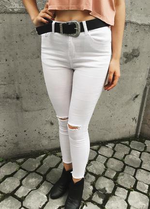 Рваные белье джинсы скини с дырками