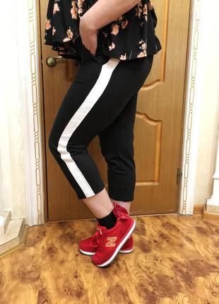 Женские хлопковые брюки с лампасами