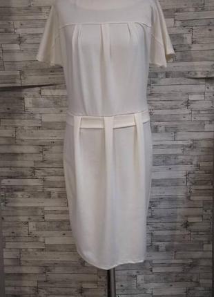 Молочное трикотажное платье, классика