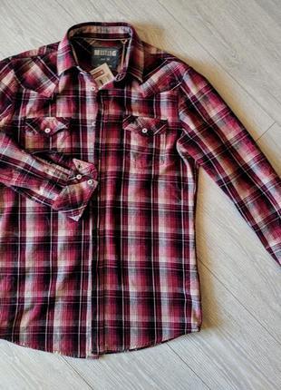 Стильная рубашка mustang jeans красно-чёрная