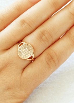 Позолоченное кольцо р.17, позолота