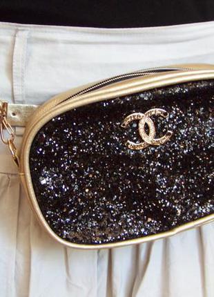 Распродажа многофункциональная сумка поясная наплечная с ремнем в тон черными блестками