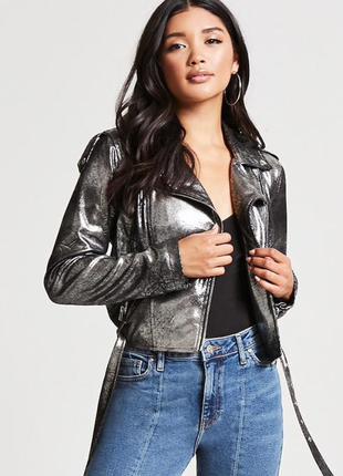 Куртка косуха черная с блеском forever 21 размер s