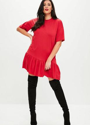 Красное платье туника с оборками