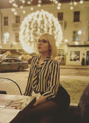 Крутая блузка в полоску с бантом vero moda