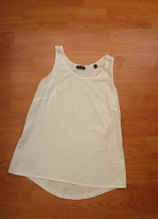 Белоснежная блуза - майка вискоза + хлопок