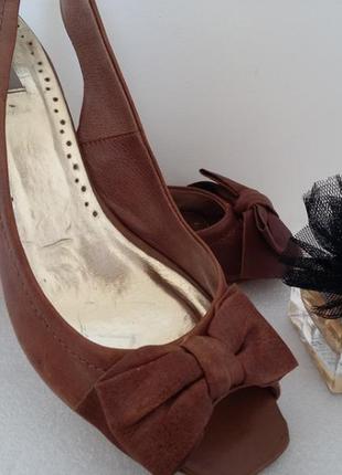 Dune-роскошные кожаные босоножки  средний  каблук.#00584