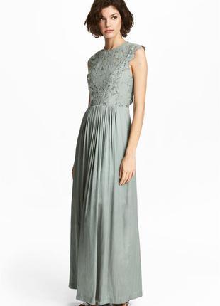 Длинное платье с кружевом от h&m