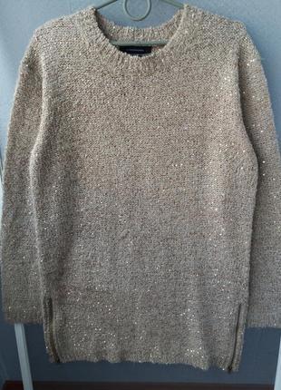 Красивый люрексовый свитер-туника с пайетками