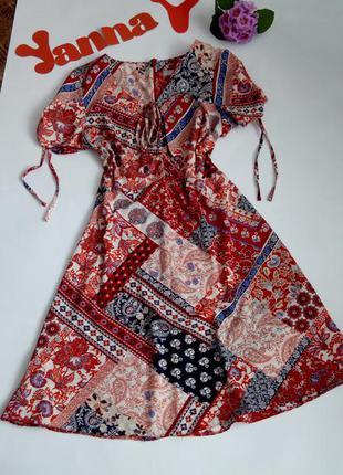 Платье вышиванка бюстье принт миди 46 48 размер нарядное топ лук скидка красное