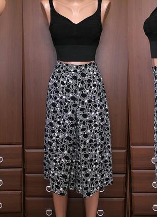 Юбка-шорты миди кюлоты женские высокая посадка с