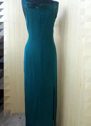 Вечернее платье футляр натуральный шелк расшитое стеклярусом l/xl2