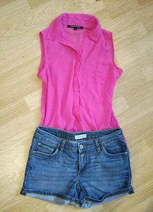 Блуза розовая, шифоновая блузка
