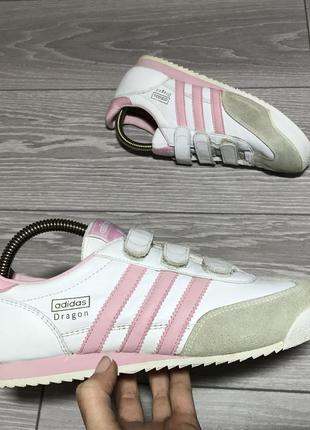 Кроссовки adidas dragon белые кожаные оригинал на липучках размер 38