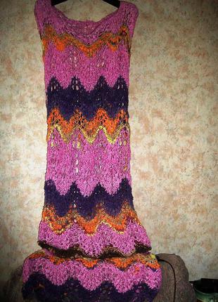 Вязаное платье\туника\ в пол в стиле миссони ажурное