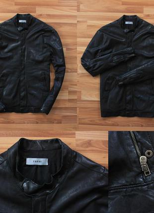 Чёрная кожаная куртка farhi мягкая телячья кожа италия