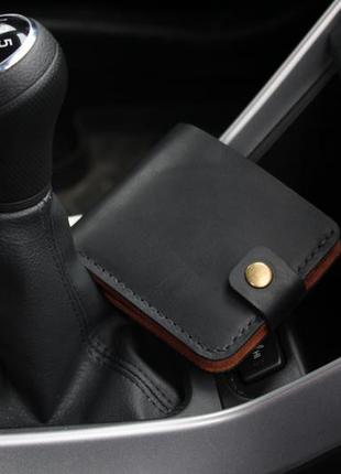 Компактный кожаный кошелек на кнопке. ручная работа. черно-коричневый