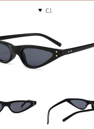 Солнцезащитные черные пластиковые очки-треугольники с дымчатой линзой в форме капли