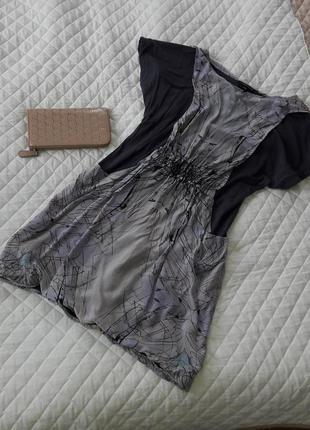 Интересная комбинированая (шелк-вискоза) туника платье warehouse