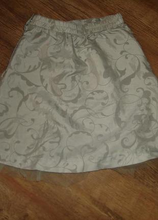 H&m серебристая юбка на 3-4 года сбоку молния