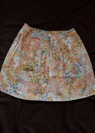 Юбка мини с цветочным принтом