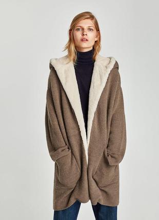 Длинная вязаная куртка-кардиган с капюшоном zara оригинал из испании оверсайз