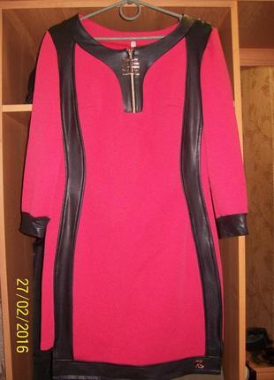 Платье со вставками эко кожа